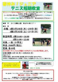 ウィングローバルテニスアカデミー熊谷 短期教室!